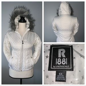 Girls White Puffer Jacket with Faux Fur Trim